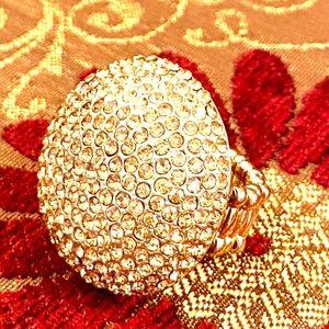 Jewelry - Faux gold rhinestone round ring, expandable band